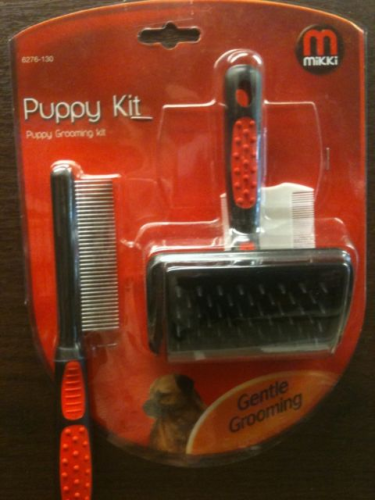 Mikki Puppy Grooming Kit with Brush, Comb and Flea comb